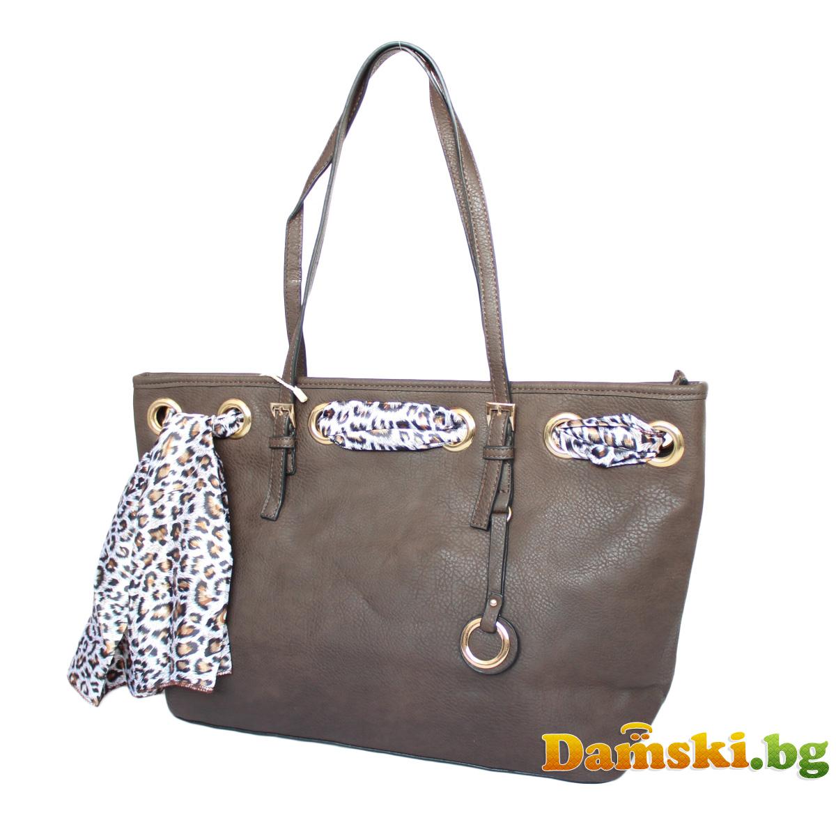 Стилна дамска чанта с шалче - тъмно кафява Снимка 3 от 3