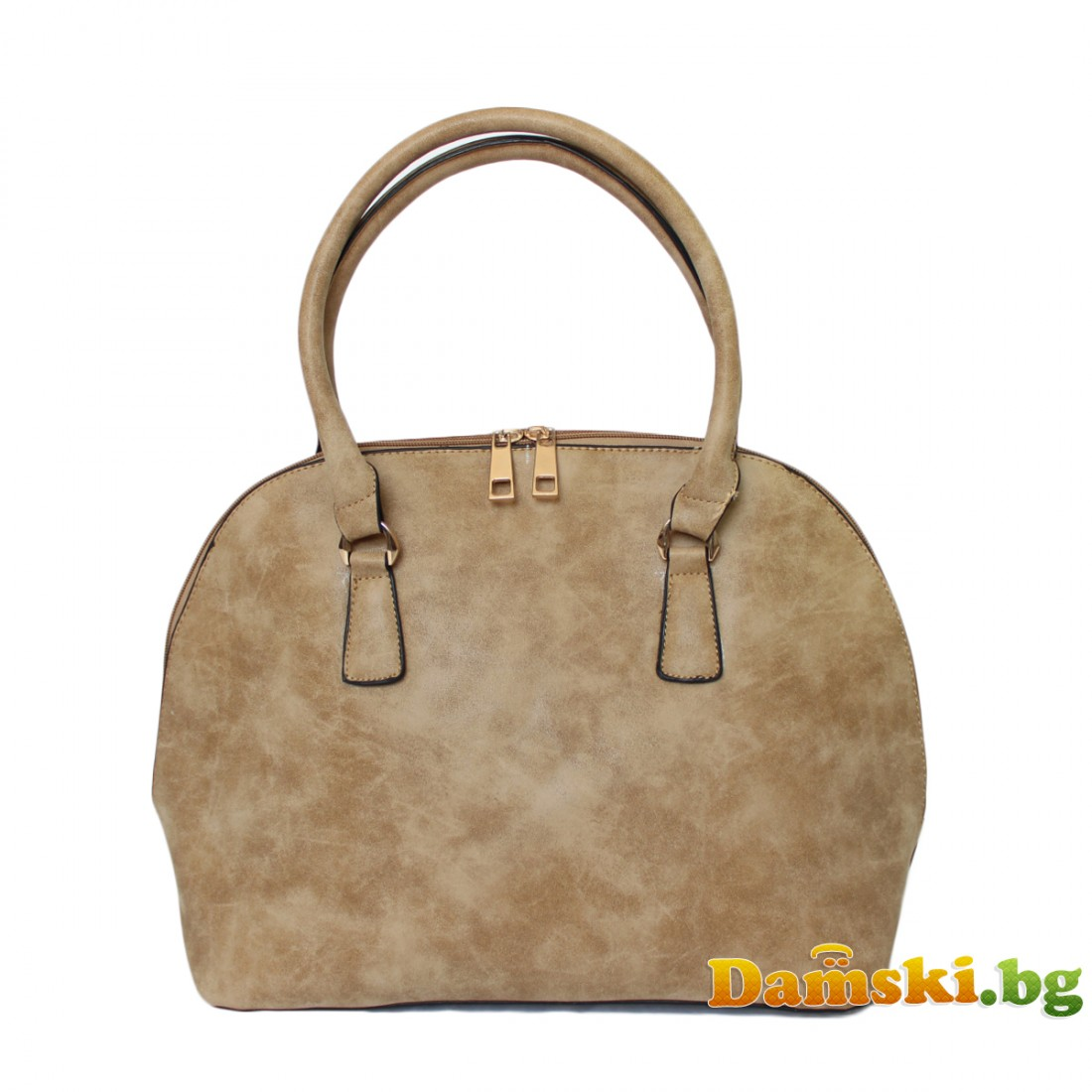 Стилна кафява дамска чанта тип куфарче