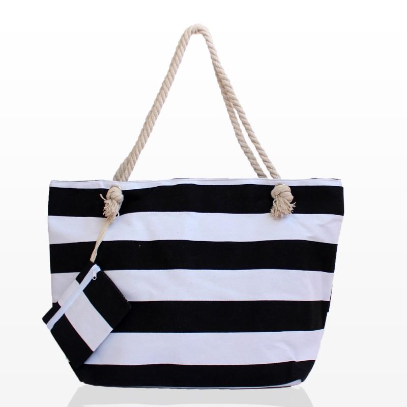 Плажна чанта на рае черно бяла