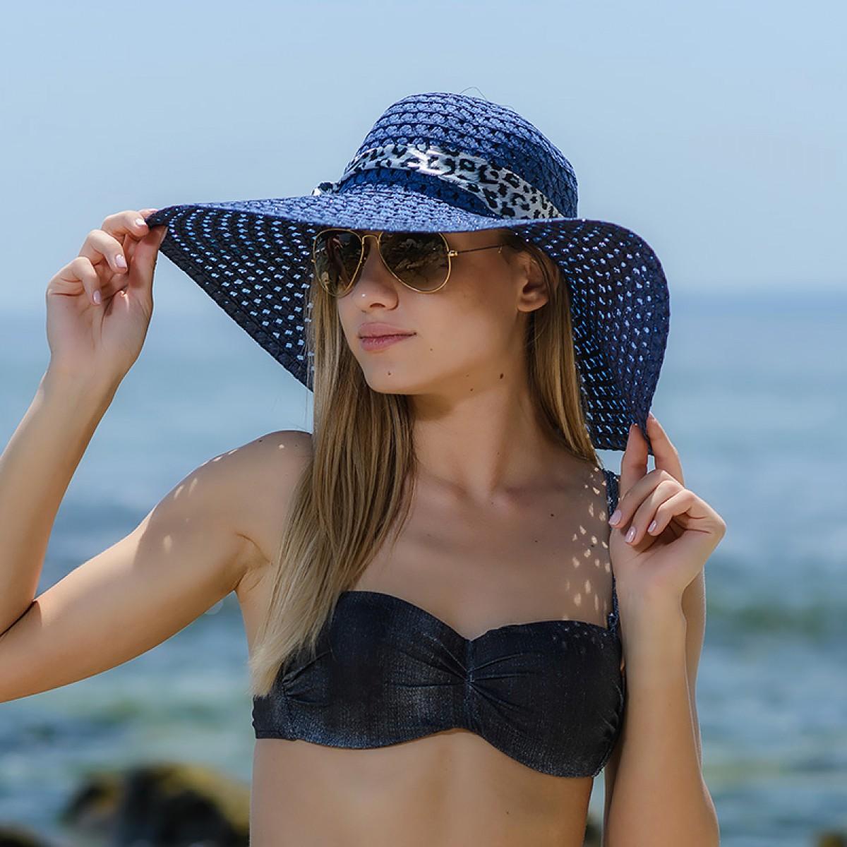 Плажна шапка тъмно синя Снимка 2 от 4