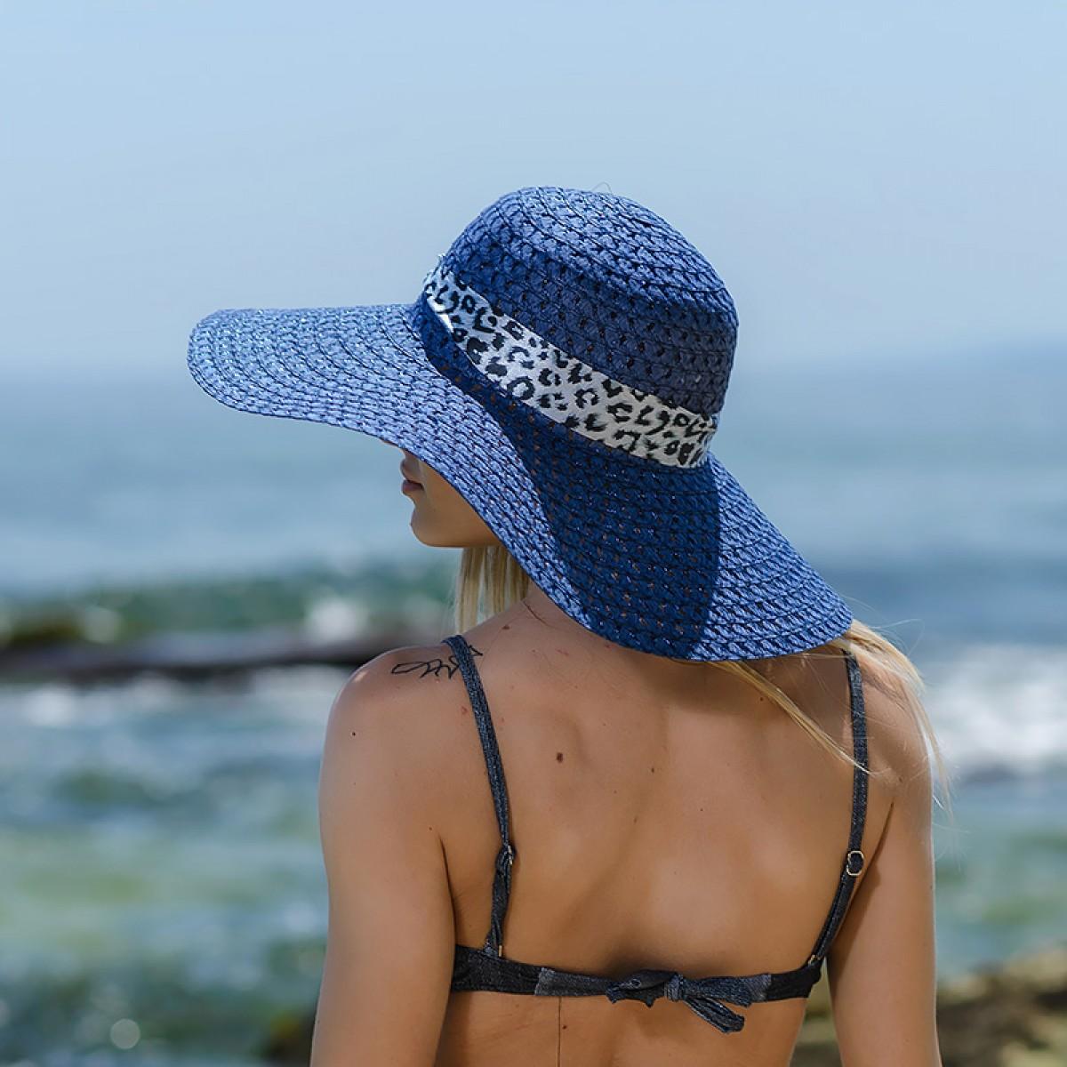 Плажна шапка тъмно синя
