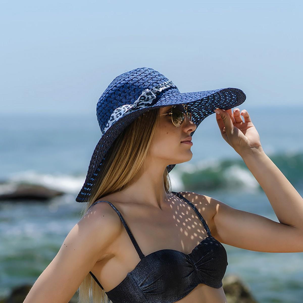 Плажна шапка тъмно синя Снимка 3 от 4