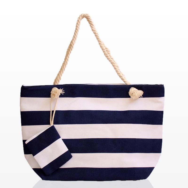 Плажна чанта на рае в тъмно синьо