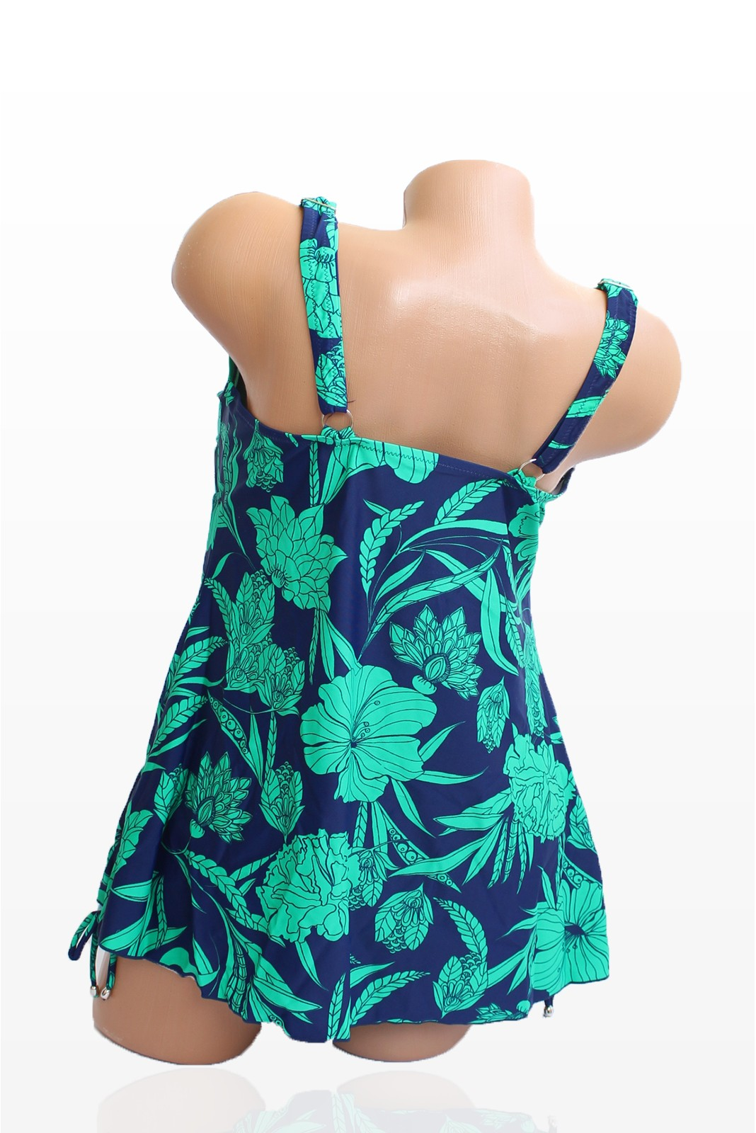 Танкини в тъмносин цвят и зелени цветя - чашка D Снимка 2 от 4