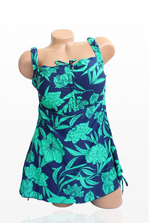 Танкини в тъмносин цвят и зелени цветя - чашка D