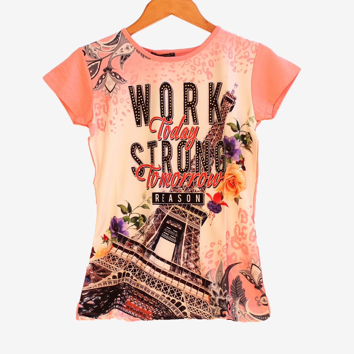 Дамска тениска Париж в розов цвят